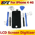 Free Shipping Replacement LCD Touch Screen Digitizer Glass Panel Assembly &amp; 6 Opening Tools for iPhone 4  4G Black