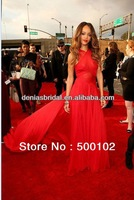 Real Image 2013 55th Grammy Awards Rihanna Red Carpet Dresses A-Line Crisscross Halter Chapel Train Gowns