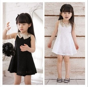 Free shipping Wholesale Princess Lace dress paillette collar white and black color in stock
