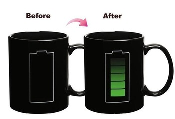 Battery Color Changing Cup Amazing Ceramic Cup Coffee Cup Temperature Changing Free shipping+Drop shipping HG128