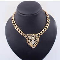Min Order $10,Statement Necklace 2013 Women,Designer Jewelry Fashion,Hollow Gold Lion Head Necklaces With Rivets,Chunky Jewelry