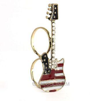 6pcs Womens Vintage Crystal Rhinestone Enamel Guitar Flag Double Finger Ring 60356
