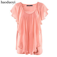 Pink ruffle chiffon shirt loose ruffle sleeve chiffon shirt breathable hm6 full