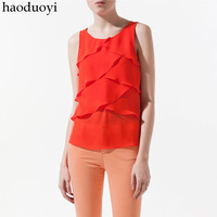 Sleeveless layered cross patchwork chiffon vest solid color chiffon shirt top 6 full
