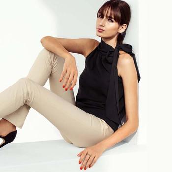 2015 New Women's  Chiffon sleeveless women's shirt   6 Size Free Shipping in Stock