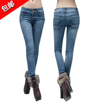 2013 fashion Spring patchwork light blue tight-fitting women's jeans female skinny pants pencil pants