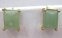 lady's green jade agate Box-shaped 18 KGP earrings free ship