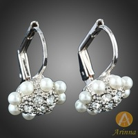 Arinna Jewelry]Free shipping wholesale  jewelry earrings jewelry female pearl earring white gold plated jewelry E1197