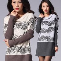 2013 spring women's V-neck cutout crotch loose straight medium-long batwing sleeve sweater