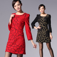 2013 spring high quality woven pattern o-neck puff sleeve sheep sweater dress one-piece dress