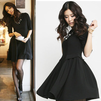 2013 spring women's sz black high quality half sleeve irregular expansion bottom slim o-neck clothes