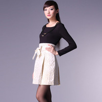 2013 high quality patchwork bow silks and satins jacquard high waist o-neck long-sleeve dress