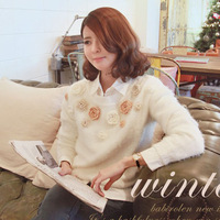 2013 spring women's female sweater handmade three-dimensional flower o-neck sweater white