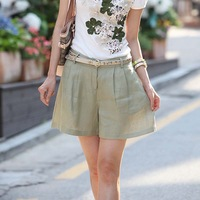 2013 pants linen cotton fashionable casual shorts fluid shorts mint green beige