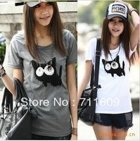 270 ultra-cute cat round neck Slim short-sleeved T-shirt wild T Wholesale supply
