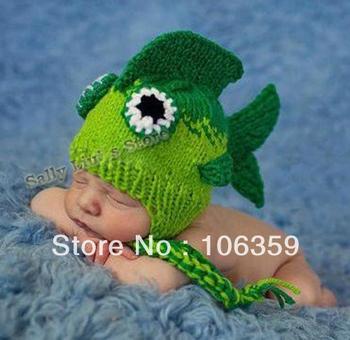 Handmade Crochet Newborn Baby Hat Photography Infant Small Magic Fish Beanies Knitted Children Cap 1pc BH0913