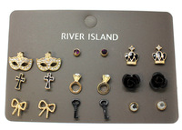 Minimum Order $6 Free Shipping New Arrival  Items 2014 Fashion  Metal Vintage Gold Resin Stud Earring Set E214