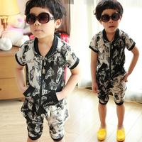 2013 summer new design male child personality chiffon set boys two piece suit:cardign+half pants boy personality Chiffon Wolf