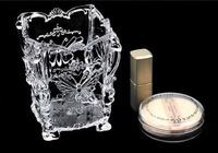 Free Shipping 10*10*10.5 cm Hot sale Butterfly Carving Transparent Plastic Cosmetic Storage Box, Wholesale Jewelry Gift Box