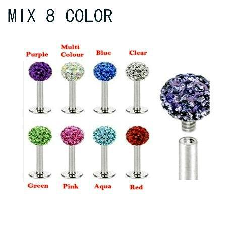 Free shipping 8 Color Crystal Ball Internal Thread Labret 16G Lip Stud Ring 16pcs/lot Body Piercing Jewelry(China (Mainland))