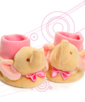 New born baby shoes ,baby socks ,baby booties with animal head toy,embroidere elephant craft.