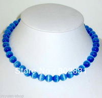 Wholesale Chinese Jewelry Natural Blue Opal Beads Necklace 17'