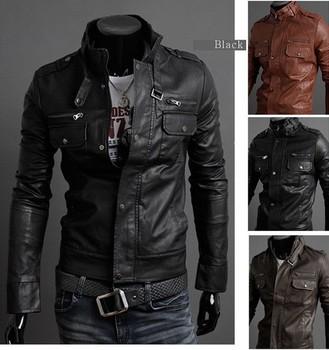 2012 new men's leather jacket Korean catwalks shall Slim leather jacket PU high quality 3 color 4 size hot sale