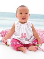 free shipping 2013 new design 80-120 5sets/lot kids' tshirt+pant=set girl clothing set hot pink set baby girl summer suit AA35