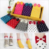 Wholesale hot sale women socks! Korea cute socks butterfly knot dot socks! 12 pairs/ lot