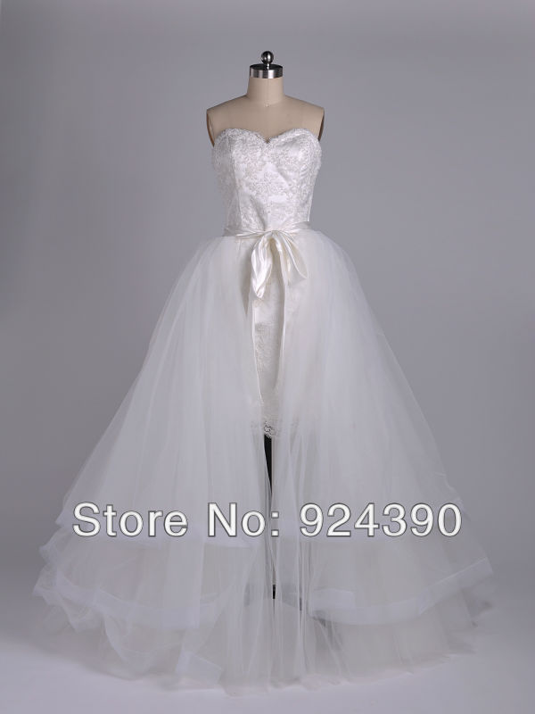 Fast Delivery High Quality Two-Piece TK2210 A-line Strapless Sweetheart Netting Organza Lace Detachable Skirt Wedding Dress(China (Mainland))