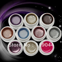 FREE SHIPPING 5ml 10PSC/Set Fashion Colorful UV Gel Set Glitter Shining For Decoration Nail Art NA402