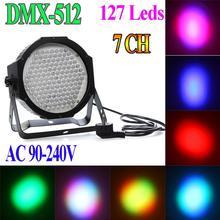 Professional AC 90-240V 127 RGB LED Effect Light DMX512 7 Channel Par Lights DMX 512 Disco DJ Party Stage Light EU Or US Plug(China (Mainland))