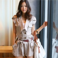 New arrival 2013 al5939 casual clothing rompers belt spaghetti strap piece set