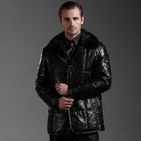 Luxury mink medium-long genuine sheepskin leather down coat down coat leather clothing male