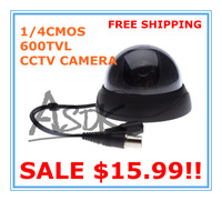 free shipping!! 4pcs A lot! 2.5inch Black 1/4CMOS 600TVL Color cctv Security Indoor dome Camera
