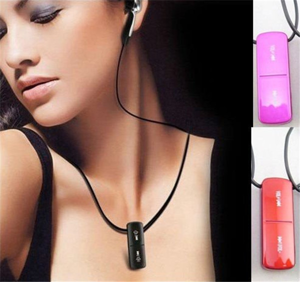 Free DHL- 10pcs lot Tiny Sexy Lipstick Necklace MP3 Player Digital Audio Music Media Player Built In 2GB Girls Favorite(China (Mainland))