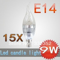 CREE Shipping High power 15X E14 3x3W 9W Dimmable AC85~265V LED Candel Light LED bulb lamp LED spotlight