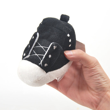 Shoes dog toys 13cm vocalization black plush toy soft pet toys