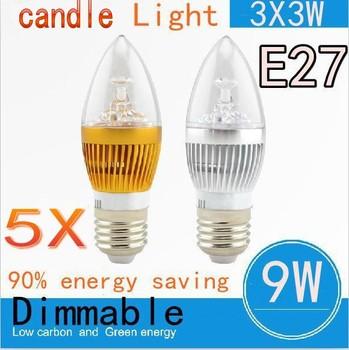 Free shipping 5pcs/lot Factory price High Brightness E27 CREE 9W 3X3W Led candle light 85-265V LED lamp light