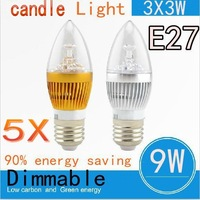 Free shipping 5pcs/lot Factory price High Brightness E27 CREE 9W 3X3W Led candle light 85-265V LED lamp light