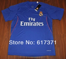 13/14 new season Real Madrid home blue football jerseys player version men's soccer kits A++++ best thai quality top sportswear(China (Mainland))