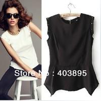 (S/M/L)Fashion Swallow-tail Asymmetric Slim Rivet T shirt Women Sleeveless Shirt(Black+White),Free Shipping