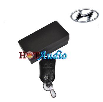 Top Quality For Hyundai Auto Key Case Bag Keychain Car Logo Holder Key Ring Gifts Genuine Leather Free Ship Via HK post