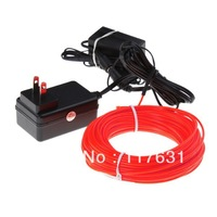 EL Wire - 18m - 2.3mm - Red - AC/DC Adapter