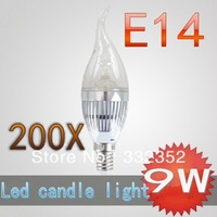 DHL FEDEX CREE Shipping High power 200X E14 3x3W 9W Dimmable AC85~265V LED Candel Light LED bulb lamp LED spotlight