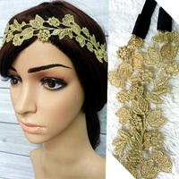 12pcs women's HOT golden silk beauty flower lace headband Elastic hair band wholesale Free shipping