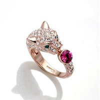 Min.order is $15/ Hot, Free shipping/Wholesale/High quality New gold plated Austria pink crystal leopard head ring