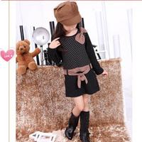 Girls clothing female child long-sleeve corset false second pieces dot one-piece  princess  female  child autumn