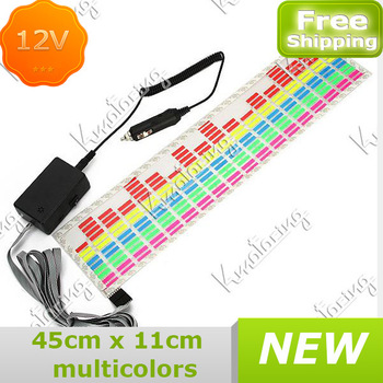Free shipping Lighting Control Equalizer Sticker Decorative Activated 45x11cm Sensor Flash Lamp Led Rhythm Truck Music Colorful