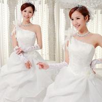 Promotion! New Arrival One Shoulder Oblique Flower Princess Bride wedding dresses ,Free Shipping!